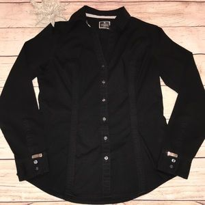 Express The Essential Shirt Black Long Sleeve Sm